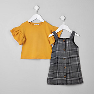Mini girls grey check pinafore dress outfit