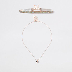 Girls rose gold glitter heart layered choker