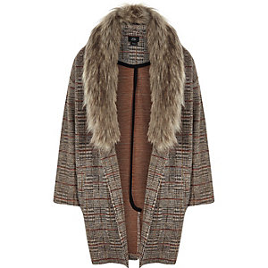 Girls brown check faux fur trim jacket