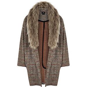 Veste marron à carreaux avec bordure en fausse fourrure pour fille