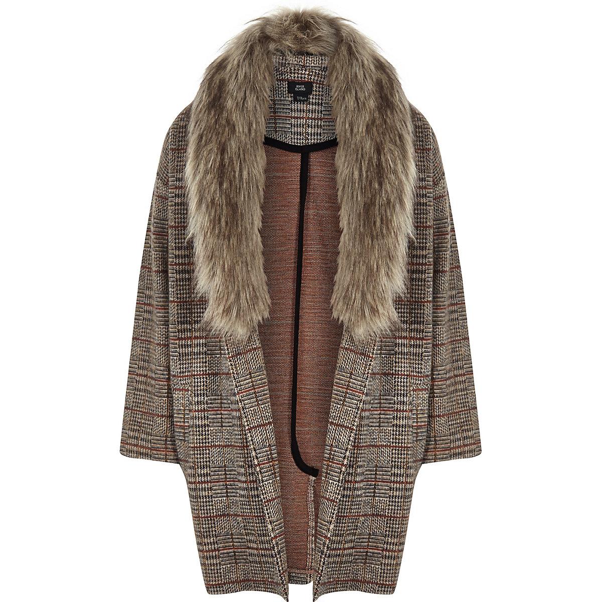 Girls brown check faux fur trim jacket