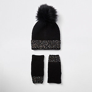 Girl black diamante knit beanie hat set