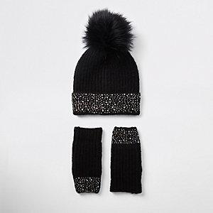 Ensemble bonnet en maille noir à strass pour fille
