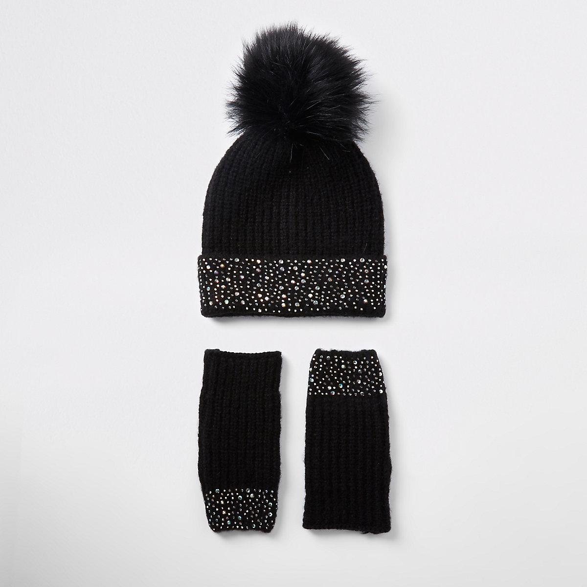 Girl black diamante knit beanie hat set