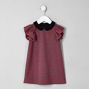 Robe droite rose motif pied-de-poule pour mini fille