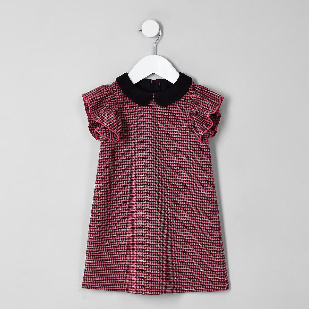 Mini girls pink dogtooth check shift dress
