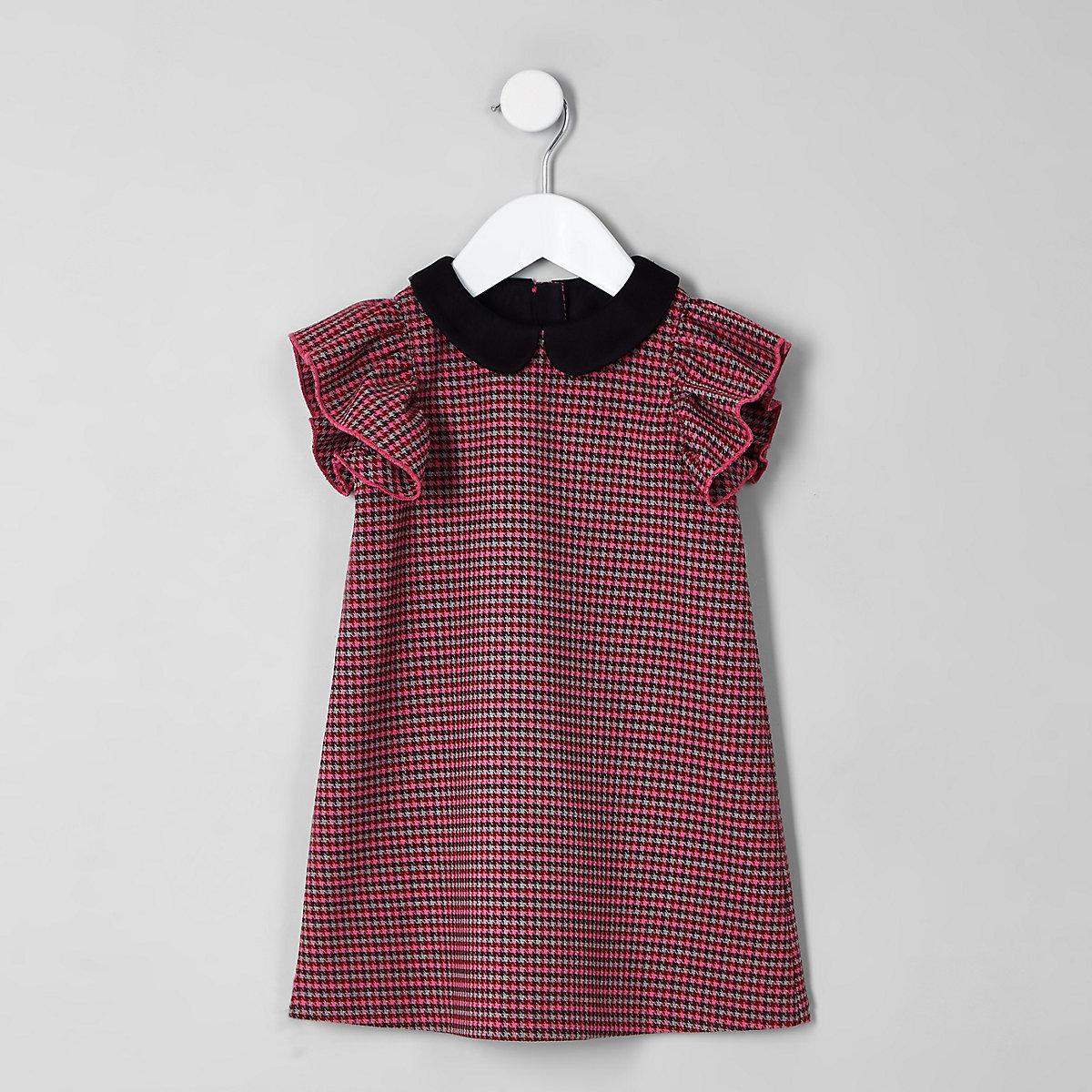Mini girls pink houndstooth check shift dress