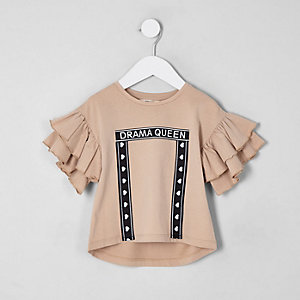 T-shirt «Drama Queen» crème à volants mini fille