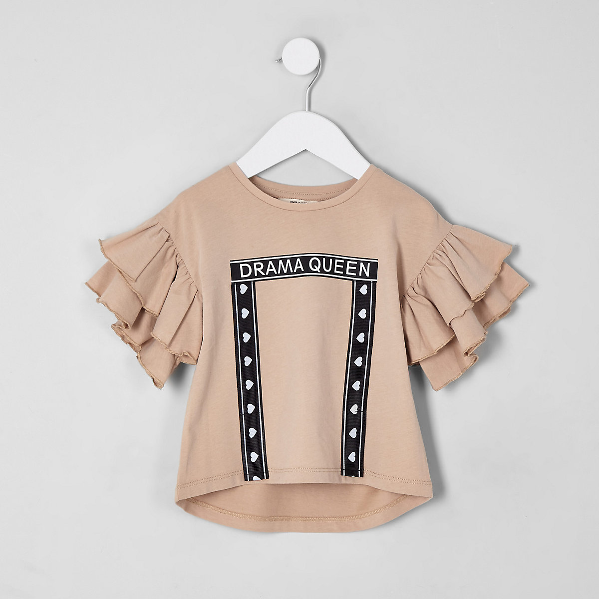 Mini girls cream 'Drama queen' frill T-shirt