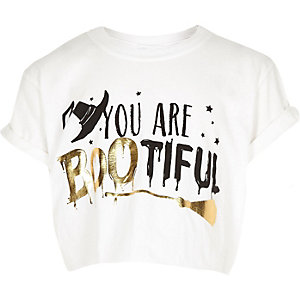 T-shirt d'Halloween blanc avec inscription « Bootiful » pour fille