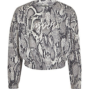 Girls grey snake print 'Inspire' sweatshirt