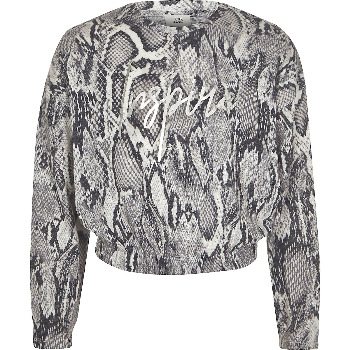 Girls grey snake print 'Inspire' sweatshirt