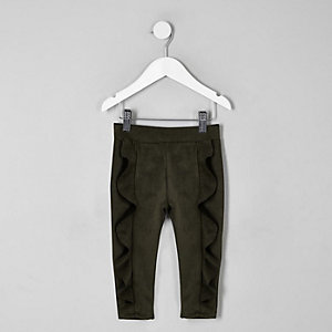 Mini girls khaki faux suede frill leggings