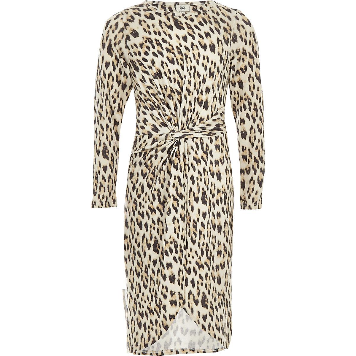 Girls brown leopard print knot front dresss