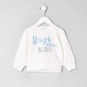 Mini girls white 'sleigh bells' sweartshirt