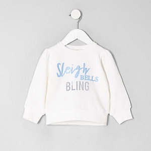Sweat «Sleigh bells» blanc mini fille