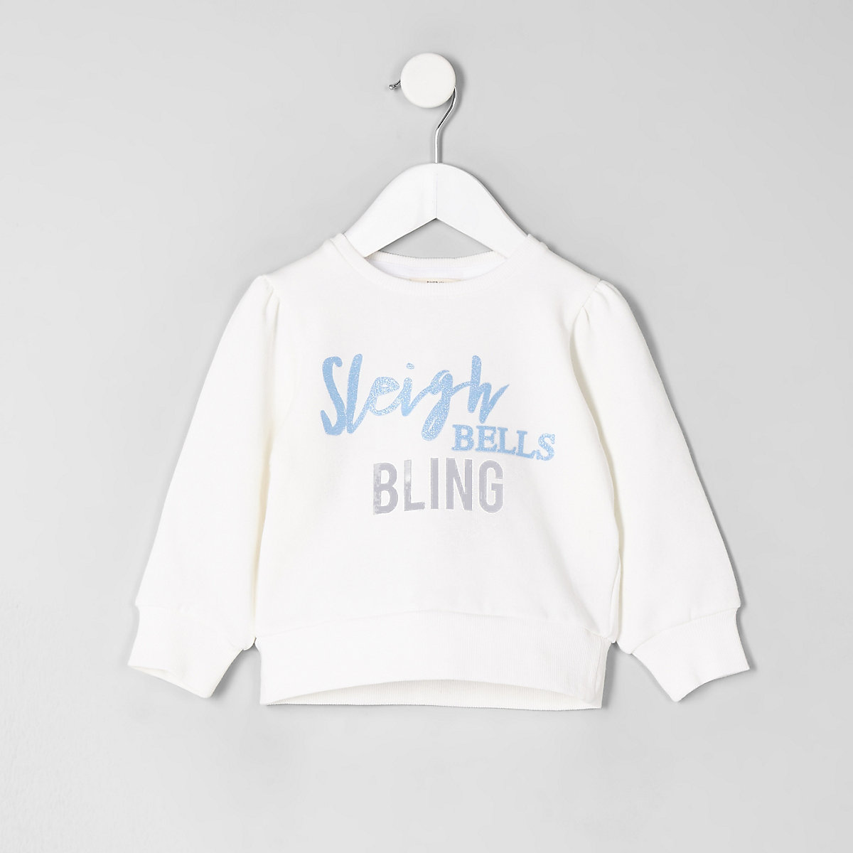 Mini girls white 'sleigh bells' sweartshirt