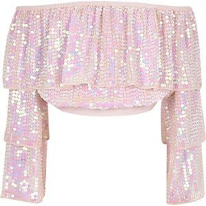 Pinkes, paillettenverziertes Bardot-Oberteil