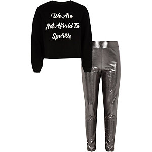 Girls black 'not afraid' sweatshirt outfit