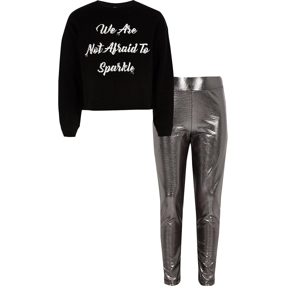 Girls black 'not afraid' sweatshirt outfit