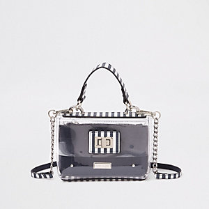 Girls navy vinyl cross body bag