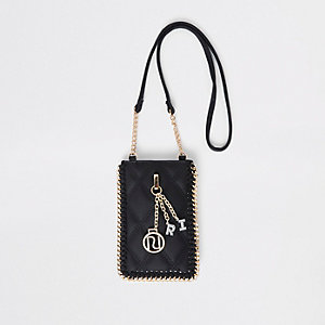 Girls black mini cross body pouch bag
