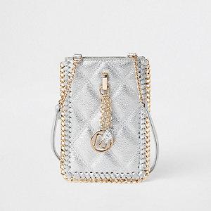 Mini-Umhängetasche in Silber