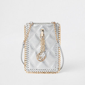 Girls silver mini cross body pouch bag