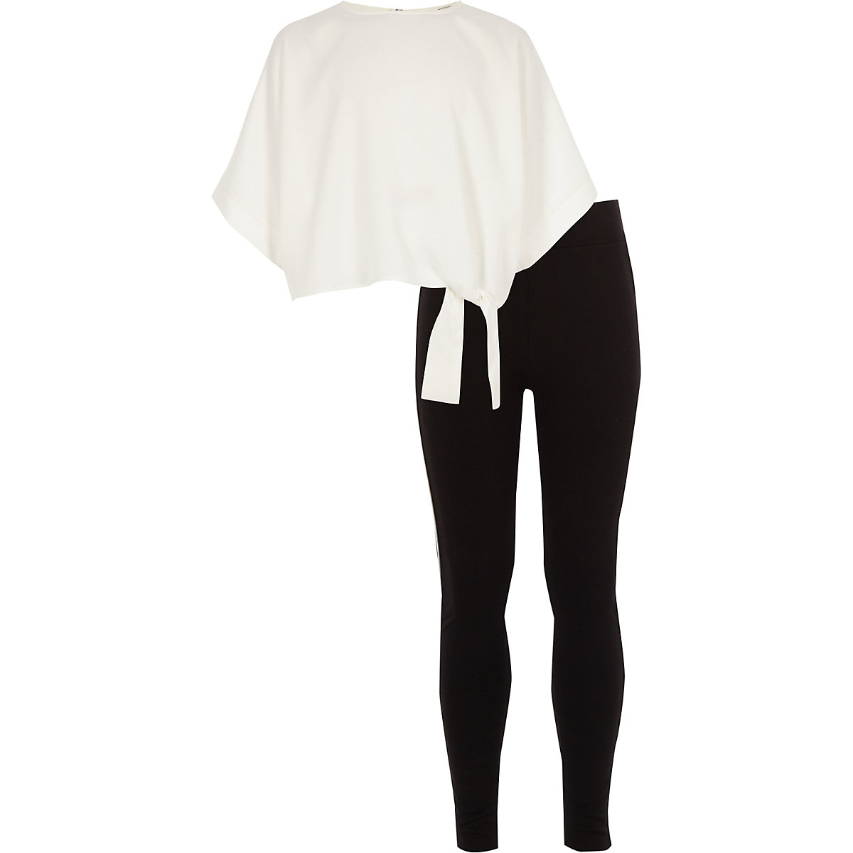 Girls white tie side T-shirt outfit
