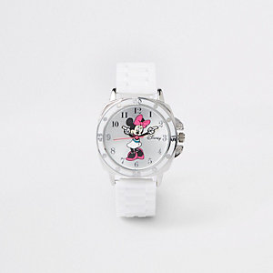 Girls white rubber strap Minnie Mouse watch
