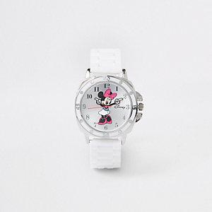 Minnie Maus – Weißer Armbanduhr mit Gummiarmband