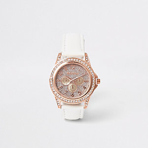 Girls white rose gold diamante watch 2e5bf3710