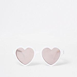 Mini - Witte zonnebril met hartvormige glazen voor meisjes
