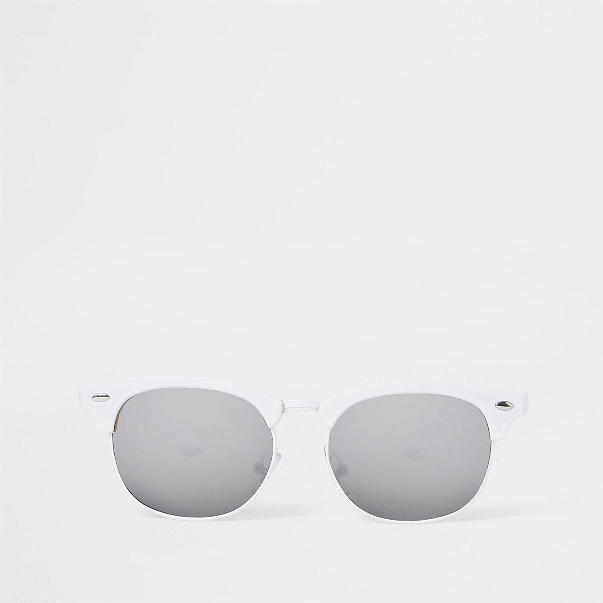 Girls white retro frame sunglasses
