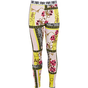 Girls pink mixed print scuba leggings