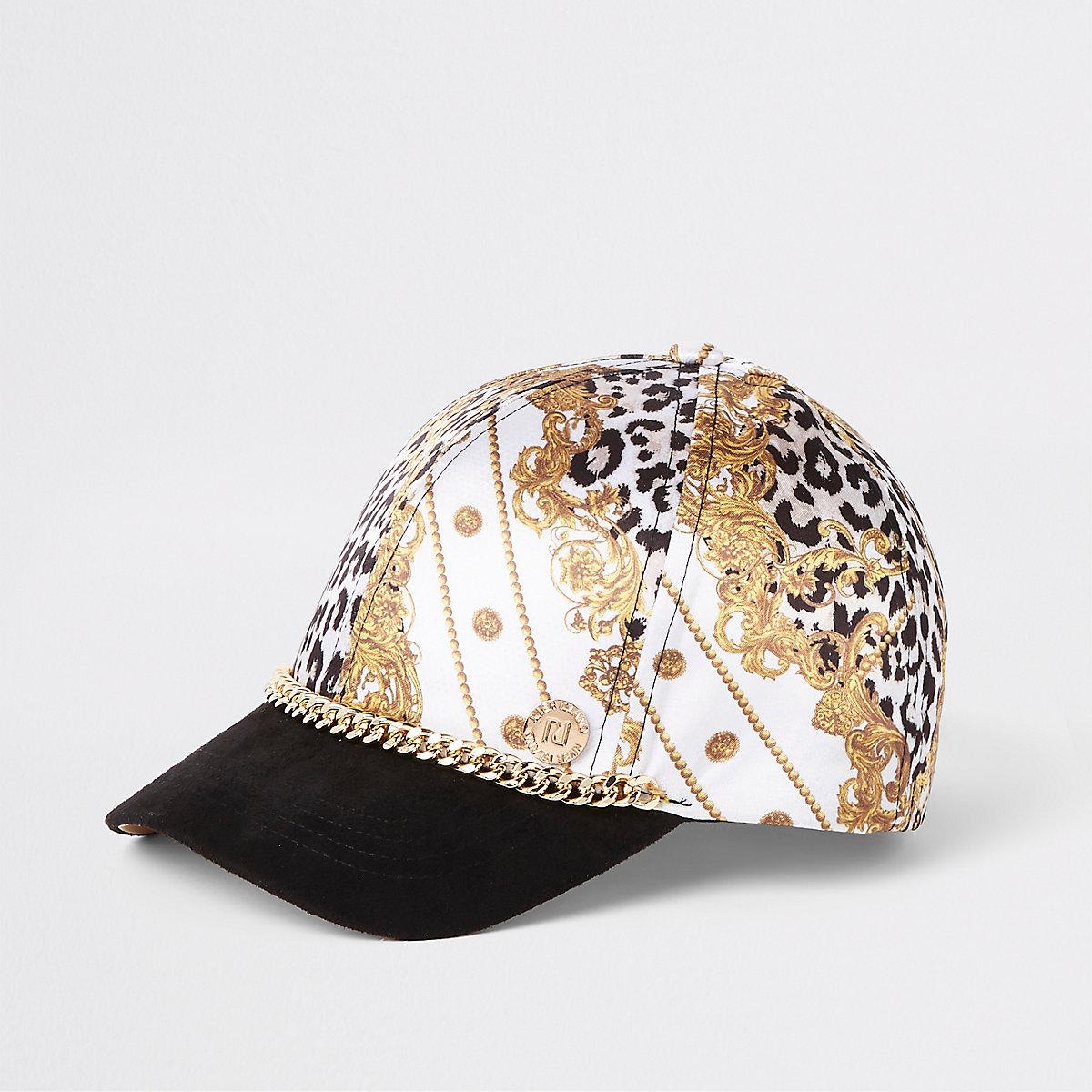 mini girls white baroque chain cap