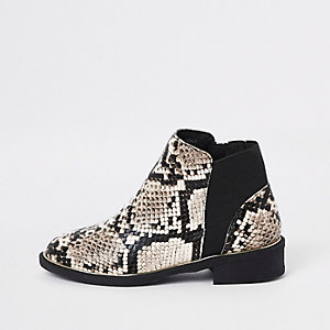 Girls brown snake skin chelsea boots