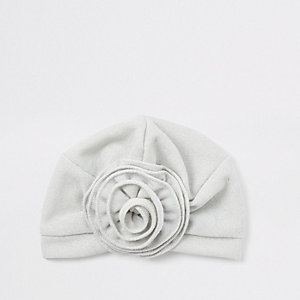Mini girls silver flower turban