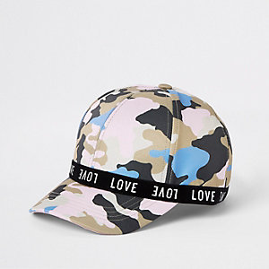 Casquette « love » camouflage rose pour fille
