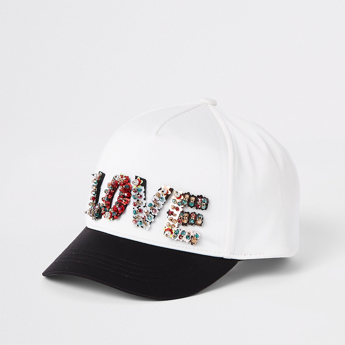 Girls white 'Love' sequin cap