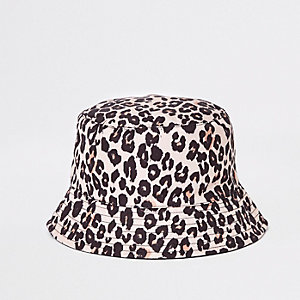 Mini girls brown print reversible bucket hat