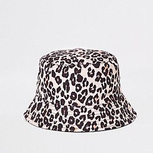 Mini girls brown print reversible bucket hat