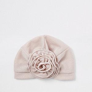 Turban rose à fleurs mini fille