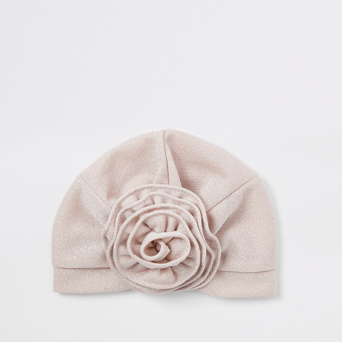 Mini girls pink flower turban