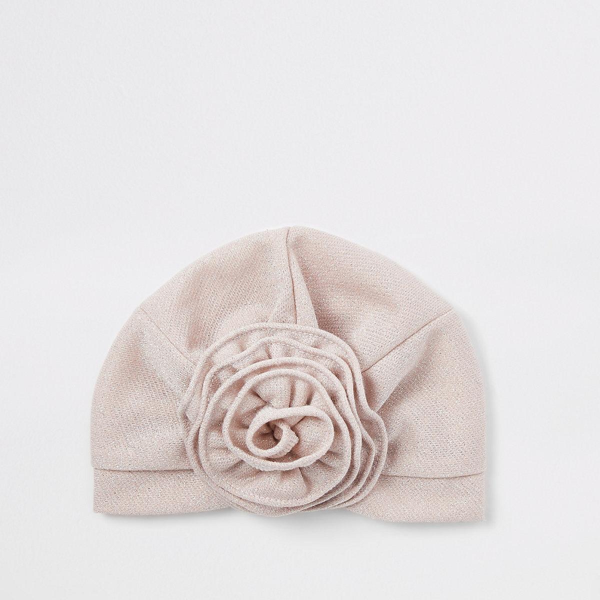 Mini girls pink flower turban
