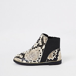 Mini - Bruine chelsea boots met slangenprint voor meisjes