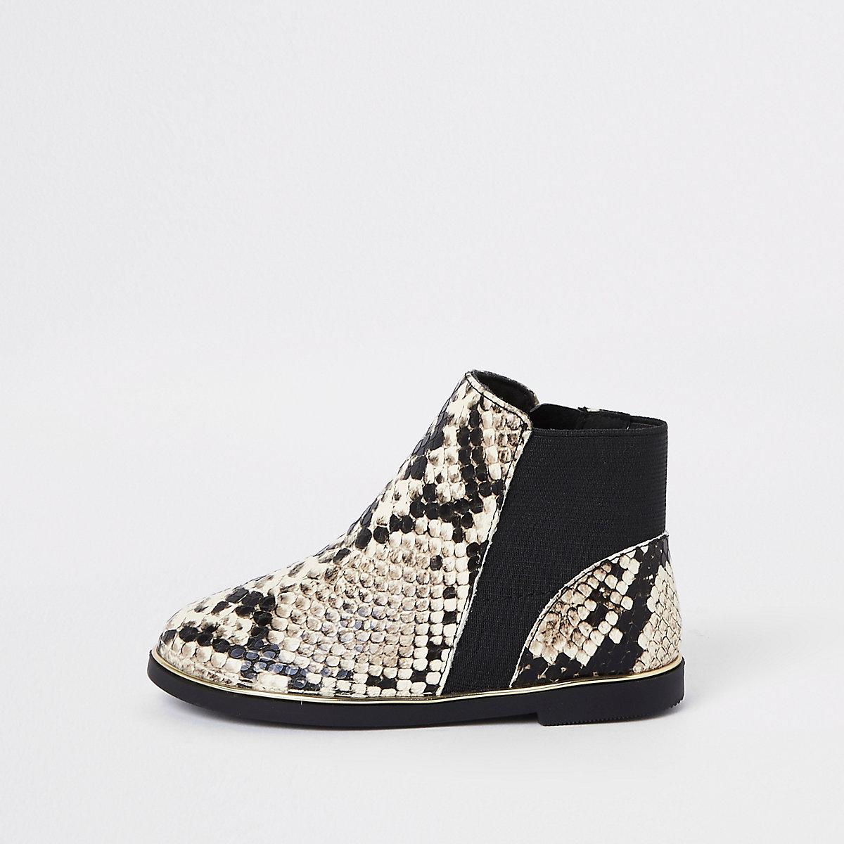 Mini girls brown snake skin chelsea boots