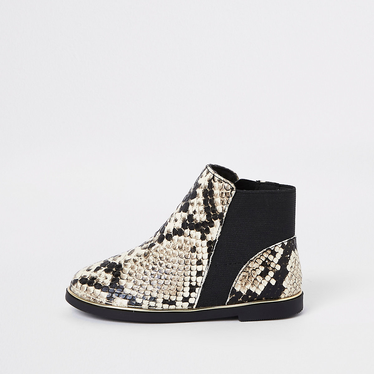Mini girls brown snake skin chelsea boots