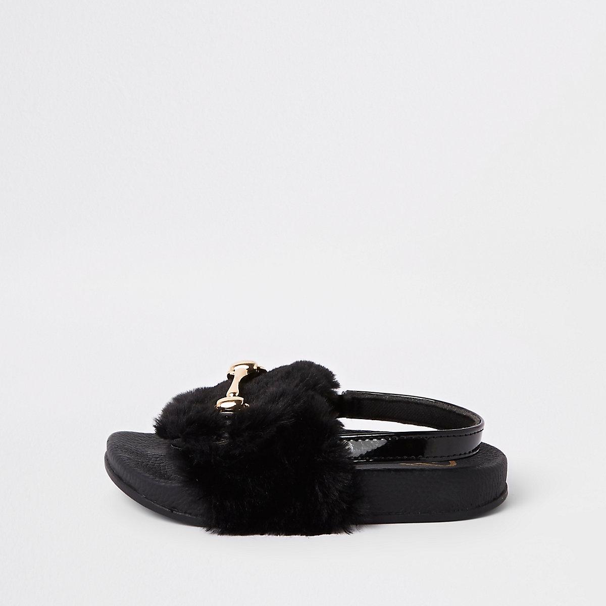 Mini girls black faux fur snaffle sliders