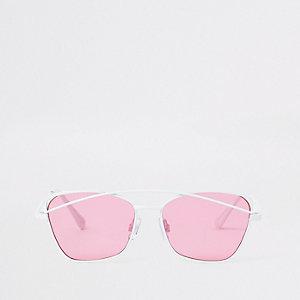 Witte zonnebril met roze glazen voor meisjes